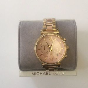 """Michael Kors Gold /Rose Gold Watch With """"Diamond"""""""